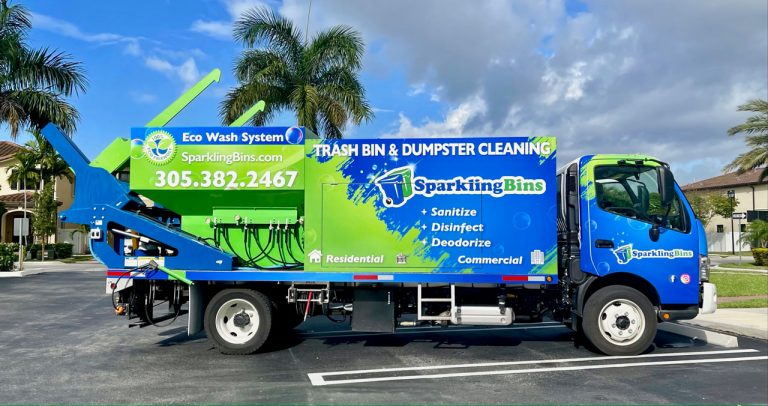 Sparkling Bins has rebranded its Trash and Dumpster cleaning trucks